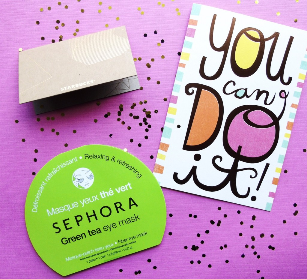 """Working mom care package with """"you can do it"""" greeting card, Starbucks gift card, Sephora eye mask. All on pink background with glitter."""