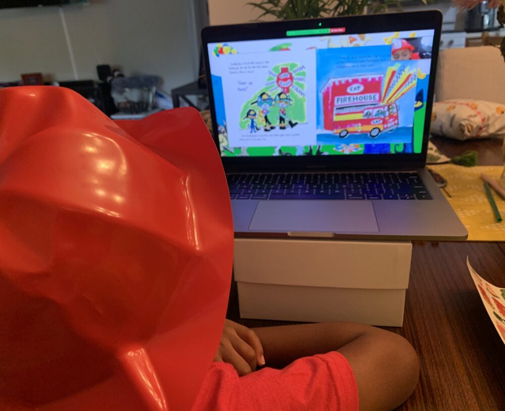 CLL attending virtual firefighter story time activity