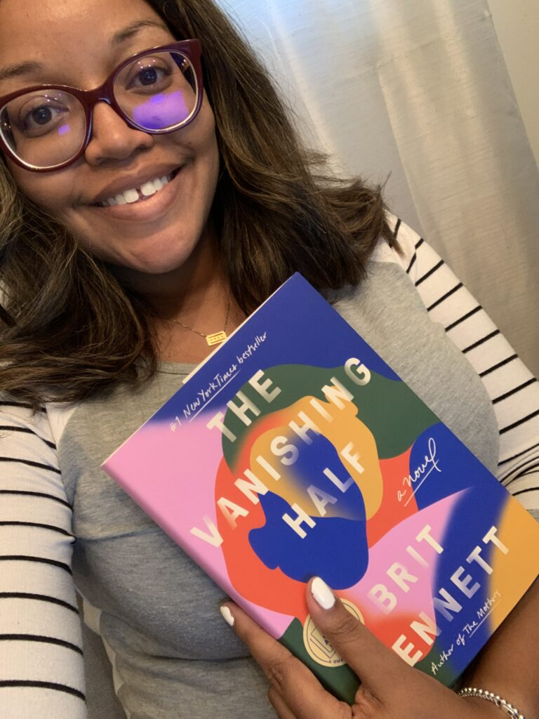 KB with The Vanishing Half book by Brit Bennett