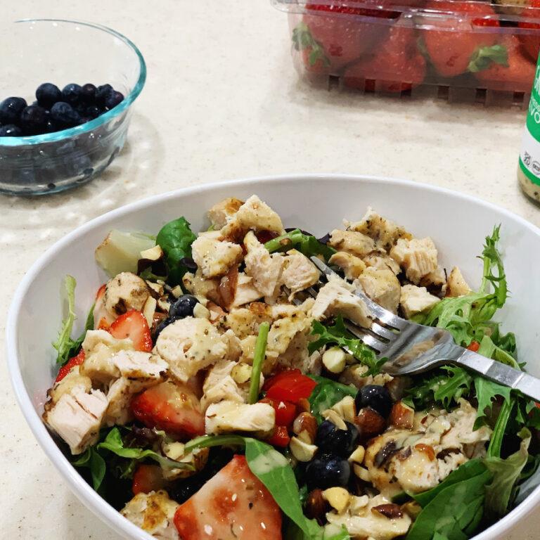 green goddess chicken and berry salad