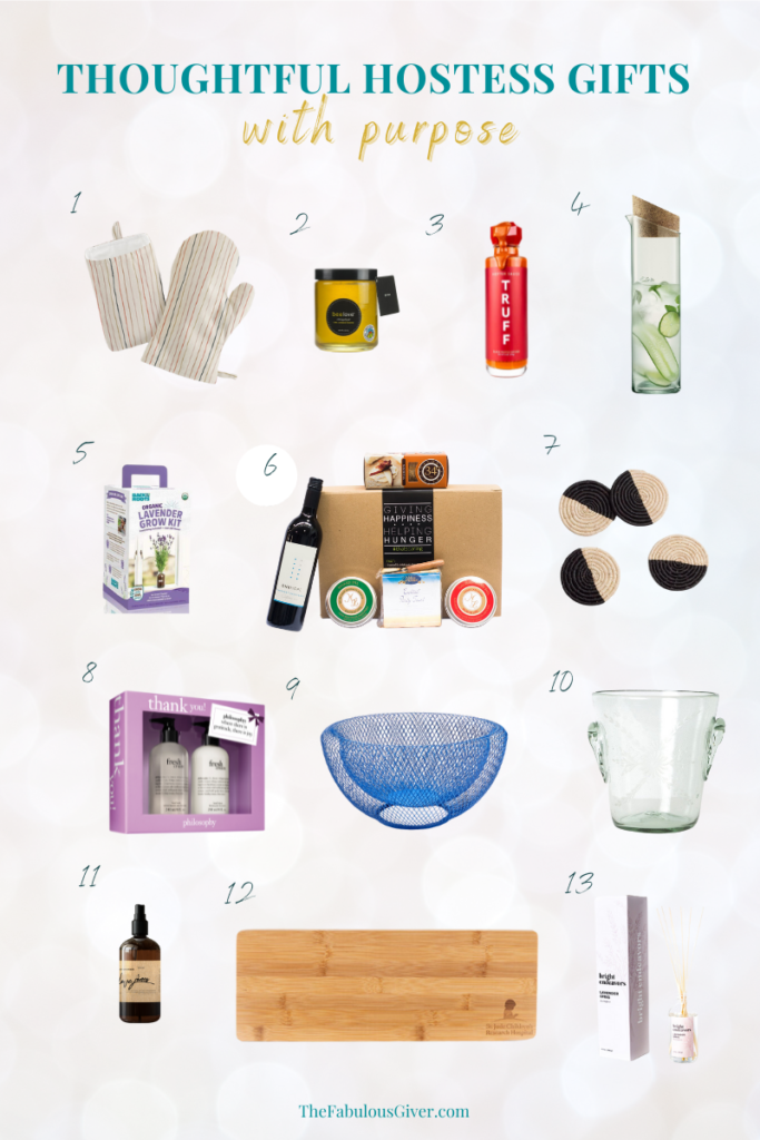 Collage image of 13 simple hostess gifts that also support charity, nonprofits and charitable causes